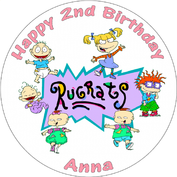 RUGRATS EDIBLE PERSONALISED ROUND BIRTHDAY CAKE TOPPER